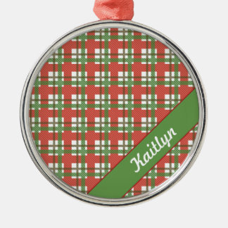 Christmas green and red tartan striped ornament
