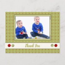 Christmas green and red thank you for gifts photo announcement postcard