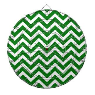 Christmas Green and White Chevron ZigZag Dart Board