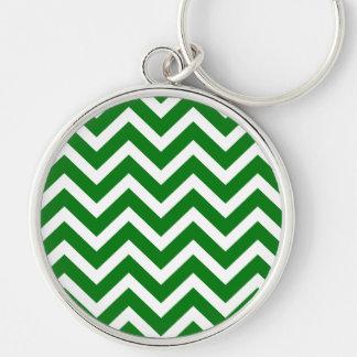 Christmas Green and White Chevron ZigZag Keychain