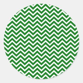 Christmas Green and White Chevron ZigZag Classic Round Sticker