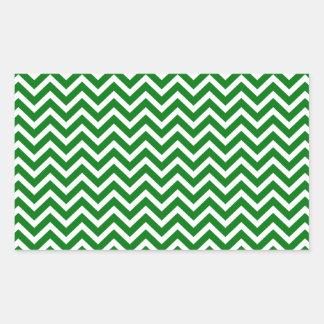 Christmas Green and White Chevron ZigZag Rectangular Sticker