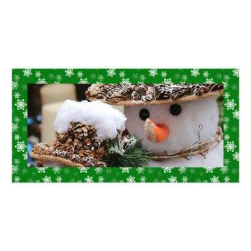 Disney Themed Christmas Green and White Snow Flurries Custom Card