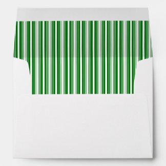 Christmas Green and White Stripes Envelopes