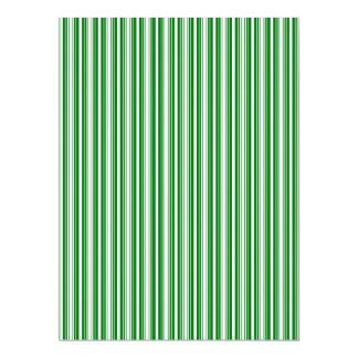 Christmas Green and White Stripes Invitation