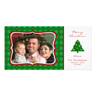 Christmas Green Argyle Seasonal Photo Card