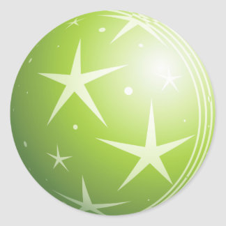 Christmas Green Bubble Stars & Sparkles Classic Round Sticker
