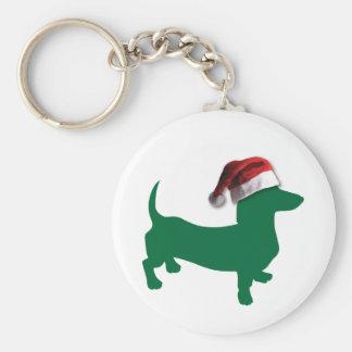 Christmas Green Dachshund Keychain