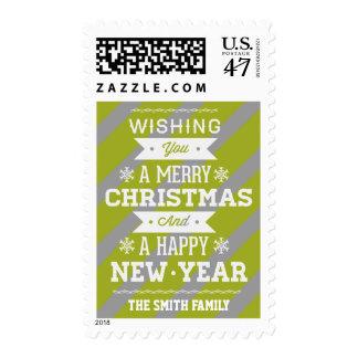 Christmas Green Gray Candycane Stripes Postage