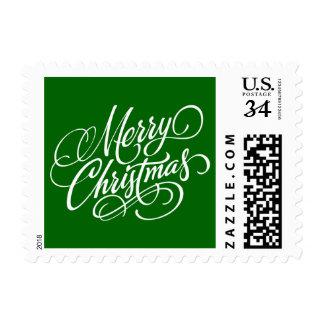 Christmas Green Merry Christmas Postage Stamp