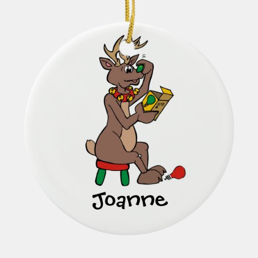 Christmas Green Nosed Reindeer Double-Sided Ceramic Round Christmas Ornament