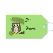 Christmas Green Owl Gift Tags