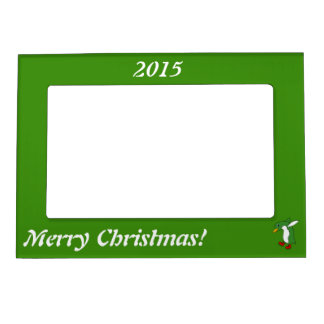 Christmas Green Penguin with Red Ice Skates Magnetic Frame