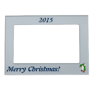 Christmas Green Penguin with Red Ice Skates Magnetic Photo Frame