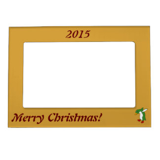 Christmas Green Penguin with Red Ice Skates Magnetic Picture Frame