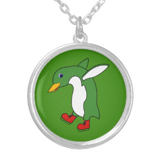 Christmas Green Penguin with Red Ice Skates Silver Plated Necklace