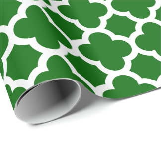 Christmas Green Quatrefoil Trellis Pattern Wrapping Paper