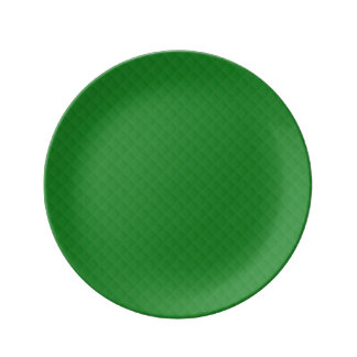 Christmas Green Quilted Pattern Porcelain Plate