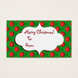 Christmas Green & Red bauble Gift tag
