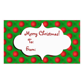 Christmas Green & Red bauble Gift tag Business Card