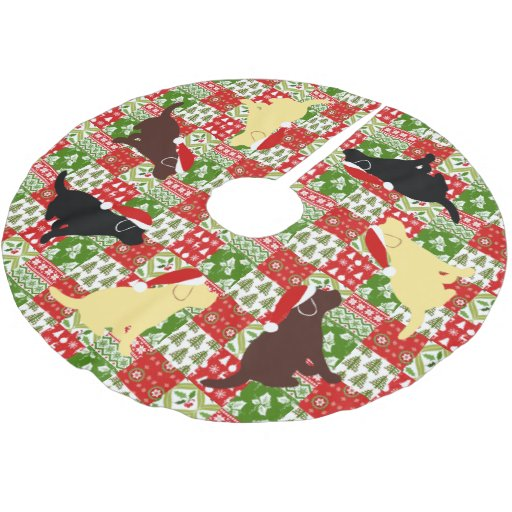Christmas Green Red Quilt Labrador Puppies Brushed Polyester Tree Skirt