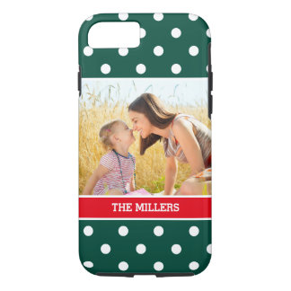 Christmas Green Red Snow Polka Dots - Family Photo iPhone 8/7 Case