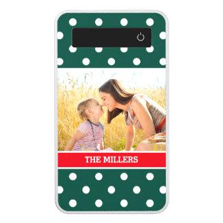 Christmas Green Red Snow Polka Dots Family Photo Power Bank