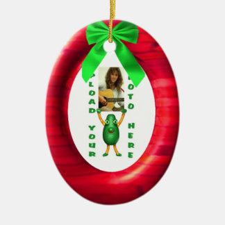 Christmas green ribbon red add photo portal christmas tree ornament