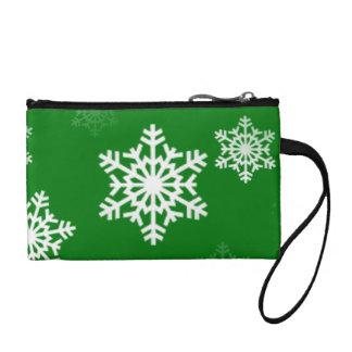 Christmas Green Snow Flurries Pattern Coin Purse