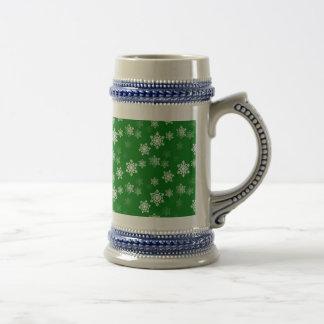 Christmas Green Snow Flurries Pattern Beer Stein