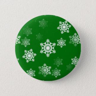 Christmas Green Snow Flurries Pattern Button