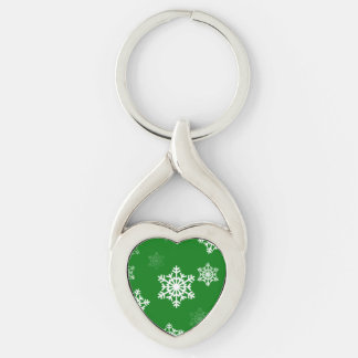 Christmas Green Snow Flurries Pattern Keychain