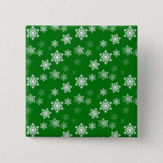 Christmas Green Snow Flurries Pattern Pinback Button