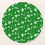 """Christmas Green Snow Flurries Pattern Round Paper Coaster<br><div class=""""desc"""">Christmas Green Snow Flurries, with tiny white crystal snowflakes scattered on the aqua background for iPhone 6, 6 and 5 phone cases, wrapping paper, stationery, tags, totes, and other gift and occasional home accessories. Match your Christmas Green Flurries Christmas and New Year&#39;s cards to your Christmas Green wrapping paper for...</div>"""