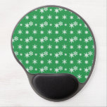Christmas green snowflakes pattern gel mouse pad