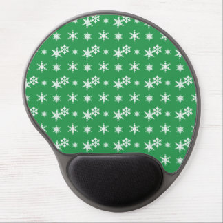 Christmas green snowflakes pattern gel mouse mat