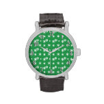 Christmas green snowflakes pattern watch