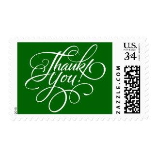 Christmas Green Thank You Postage Stamp