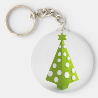 Christmas green tree basic round button keychain