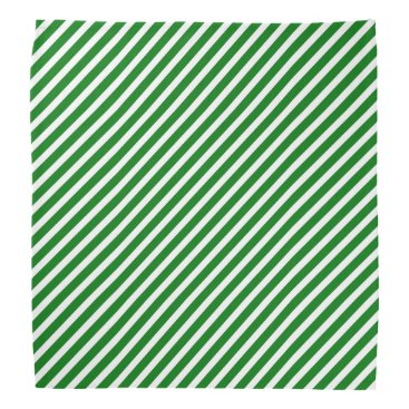 Aqua Christmas Green & White Diagonal Candy Cane Stripe Bandana