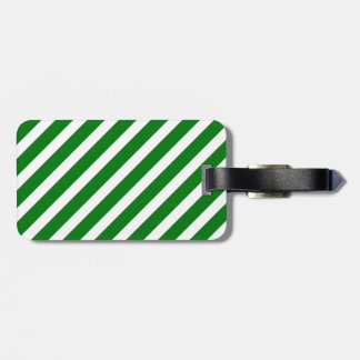 Christmas Green & White Diagonal Candy Cane Stripe Travel Bag Tags