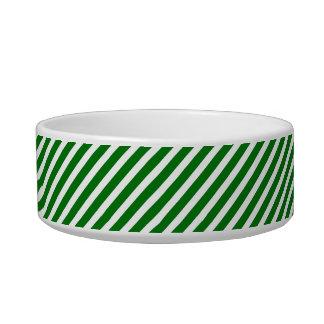 Christmas Green & White Diagonal Candy Cane Stripe Pet Water Bowls