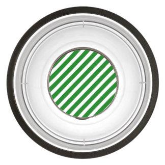 Christmas Green & White Diagonal Candy Cane Stripe Pet Bowl
