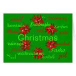 """Christmas Green Wreath Around The World"" Card Greeting Card"