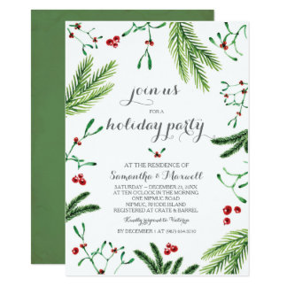 Christmas Greenery Party Invitation