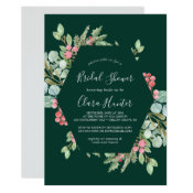 Christmas Greenery & Red Berry Green Bridal Shower Invitation