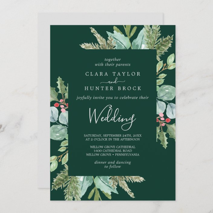 Christmas Wedding Invitation Set Reception Red and Green Berry Christmas Wreath Wedding Invitations RSVP Thank you Card Printables