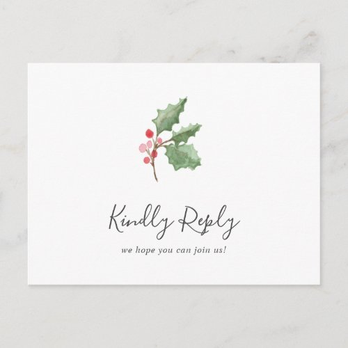 Christmas Greenery Song Request RSVP Postcard