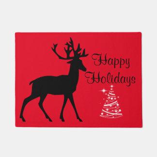 Christmas greeting buck tree doormat
