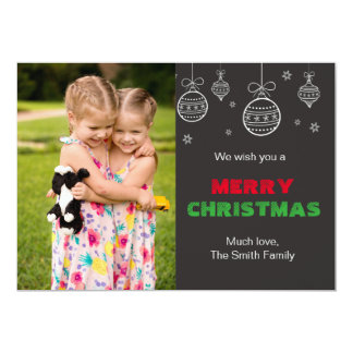 Christmas Greeting Card Family Photo Chalkboard